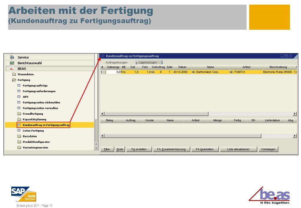 Arbeiten mit der Fertigung (Kundenauftrag zu Fertigungsauftrag)