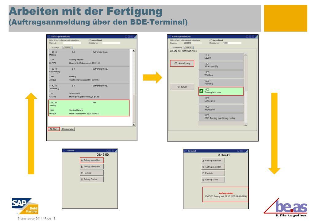 Arbeiten mit der Fertigung (Auftragsanmeldung über den BDE-Terminal)