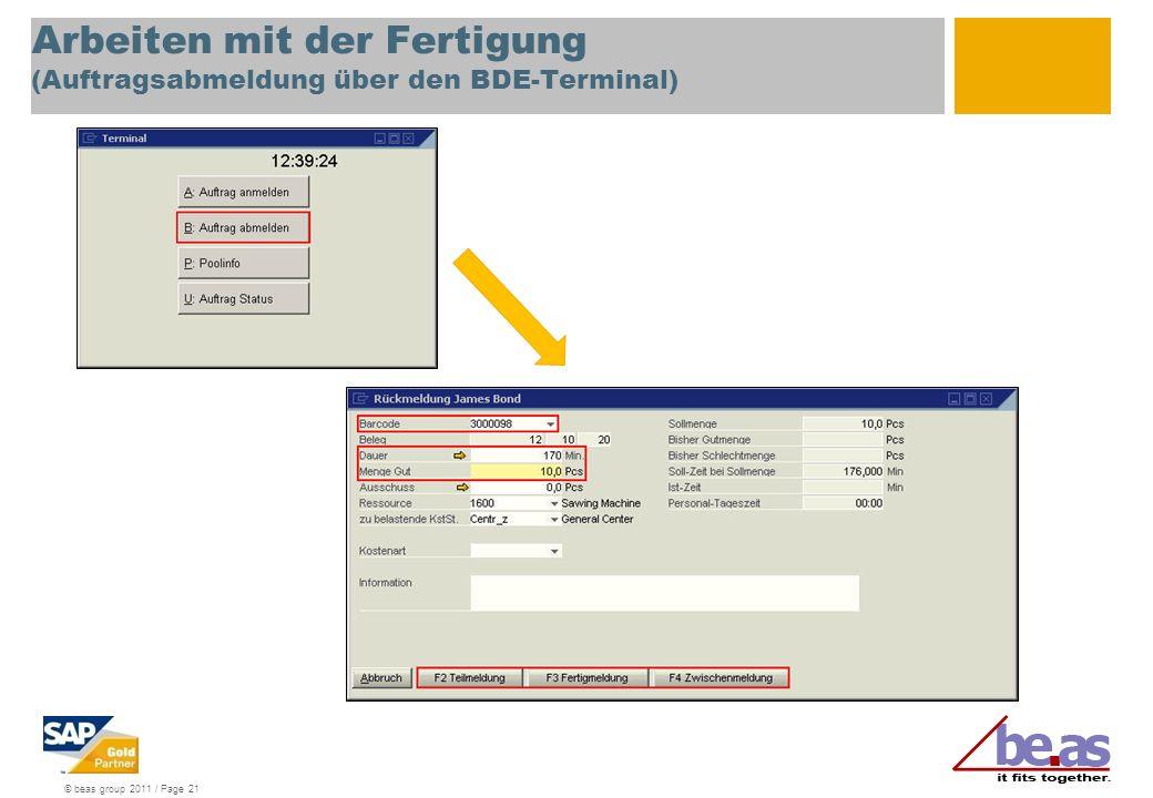Arbeiten mit der Fertigung (Auftragsabmeldung über den BDE-Terminal)
