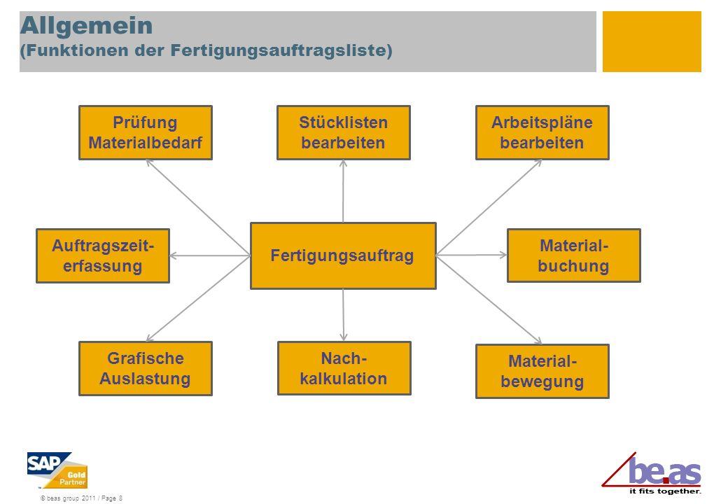 Allgemein (Funktionen der Fertigungsauftragsliste)