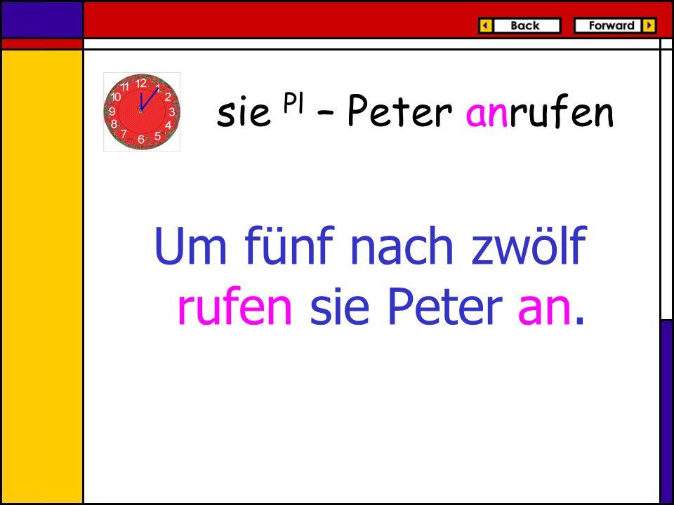 Um fünf nach zwölf rufen sie Peter an.