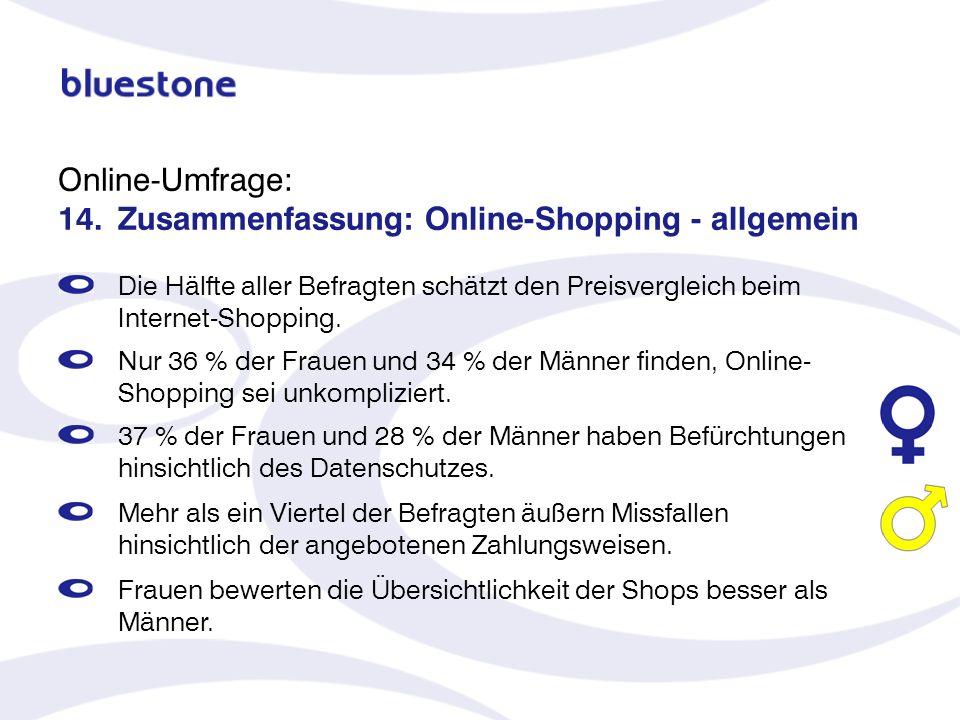Online-Umfrage: 14. Zusammenfassung: Online-Shopping - allgemein