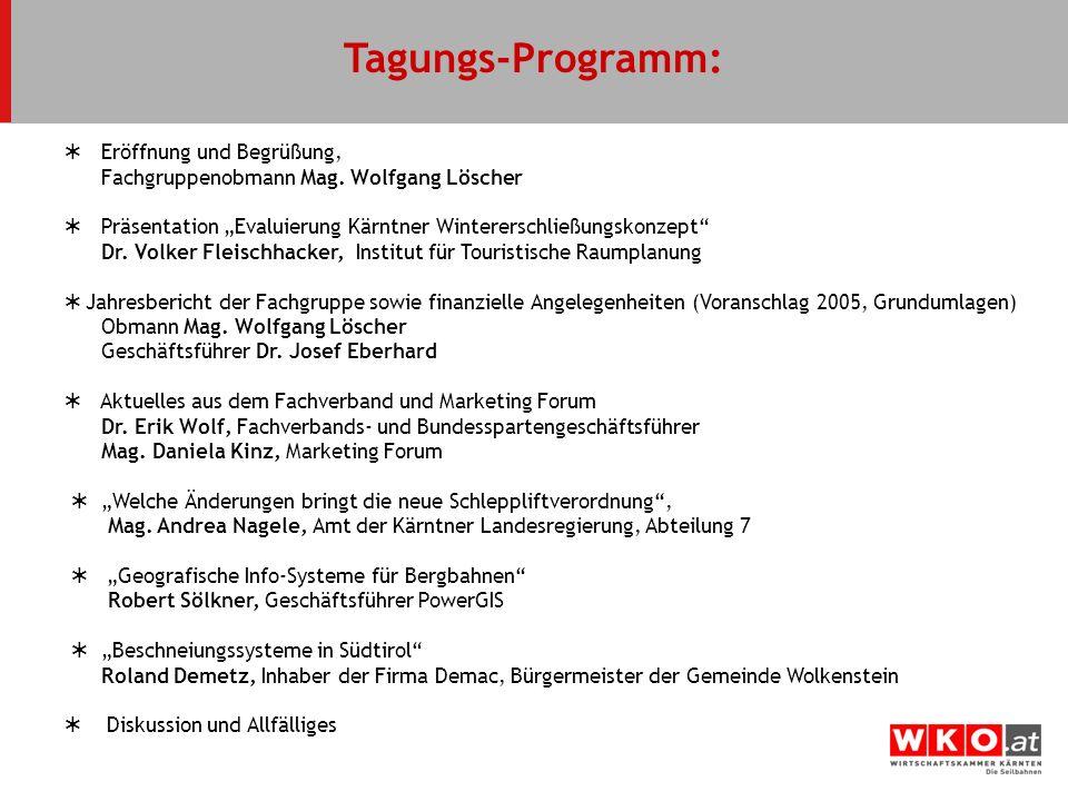 Tagungs-Programm:  Eröffnung und Begrüßung,