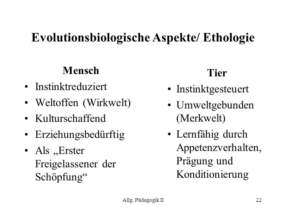 Evolutionsbiologische Aspekte/ Ethologie