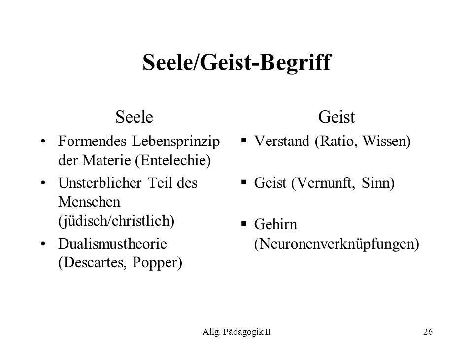 Seele/Geist-Begriff Seele Geist