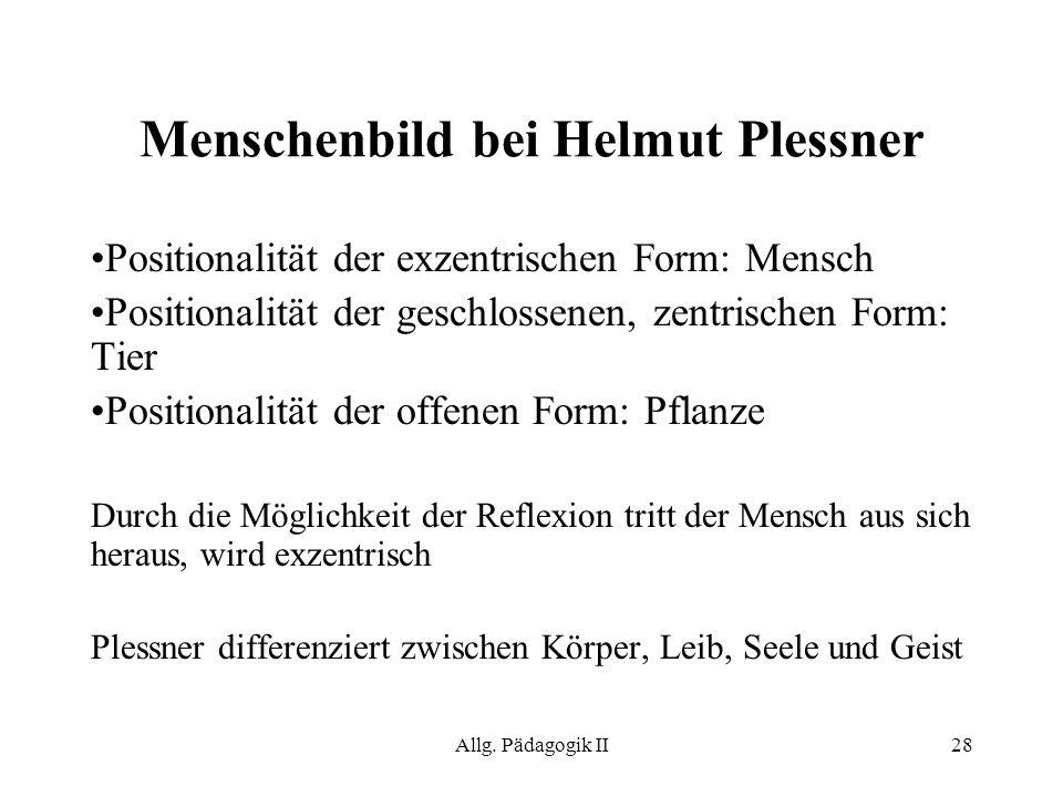 Menschenbild bei Helmut Plessner