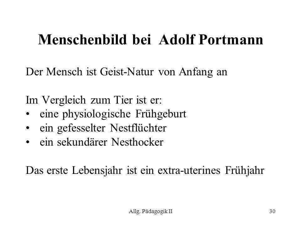 Menschenbild bei Adolf Portmann