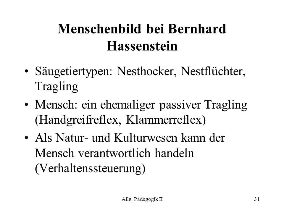 Menschenbild bei Bernhard Hassenstein