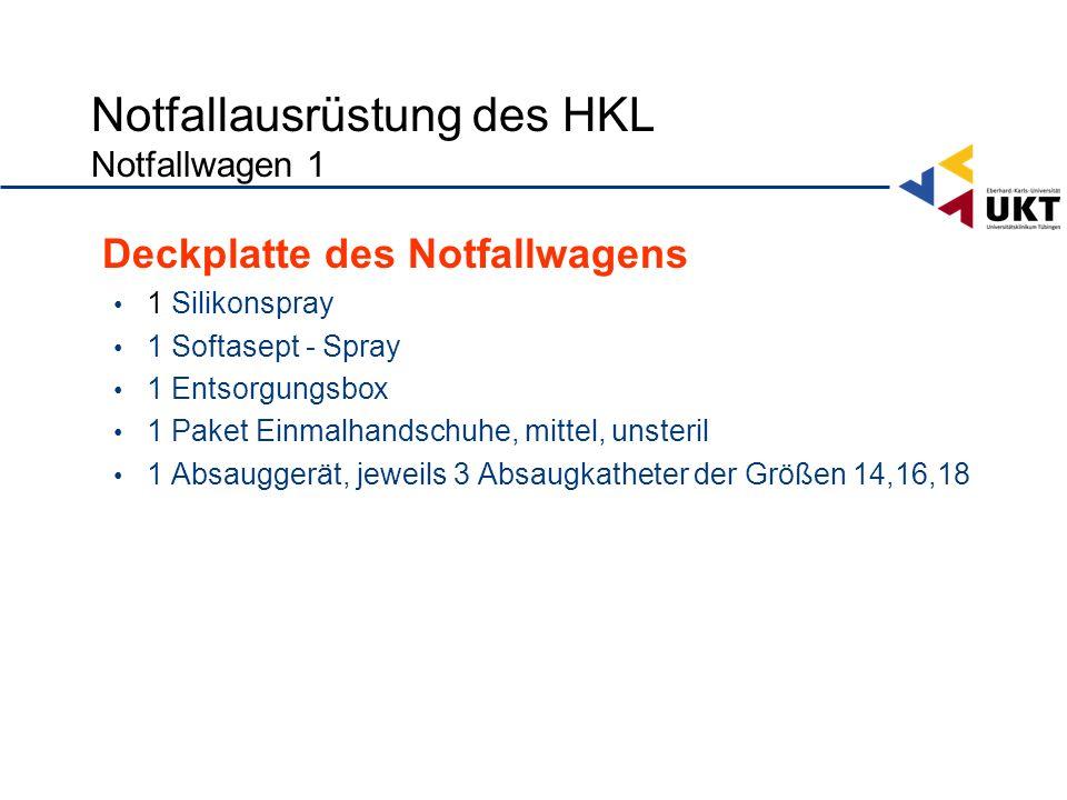 Notfallausrüstung des HKL Notfallwagen 1