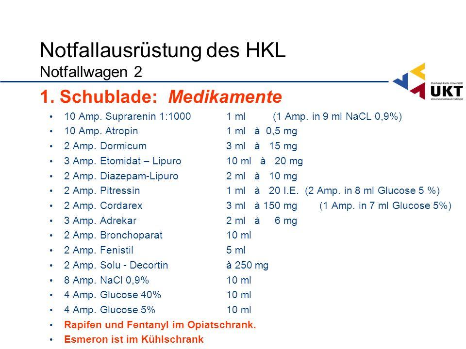Notfallausrüstung des HKL Notfallwagen 2