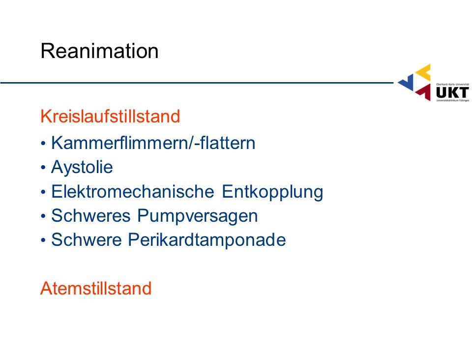 Reanimation Kreislaufstillstand Kammerflimmern/-flattern Aystolie