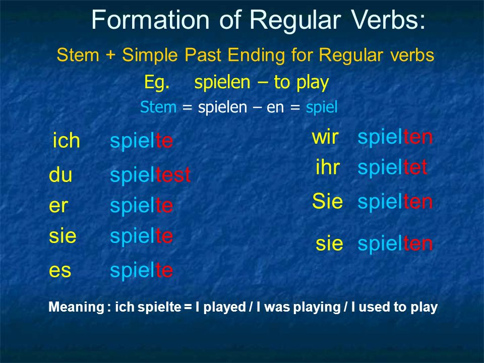 Formation of Regular Verbs: