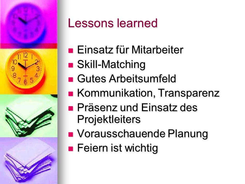 Lessons learned Einsatz für Mitarbeiter Skill-Matching