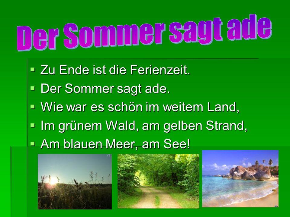 Der Sommer sagt ade Zu Ende ist die Ferienzeit. Der Sommer sagt ade.