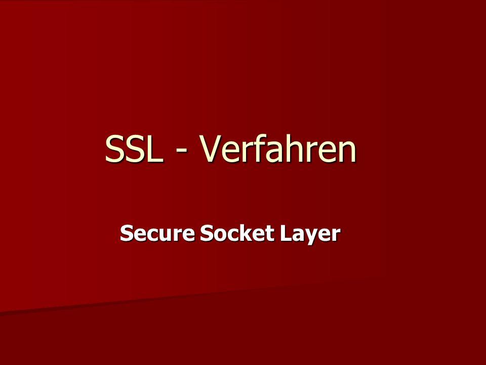 SSL - Verfahren Secure Socket Layer
