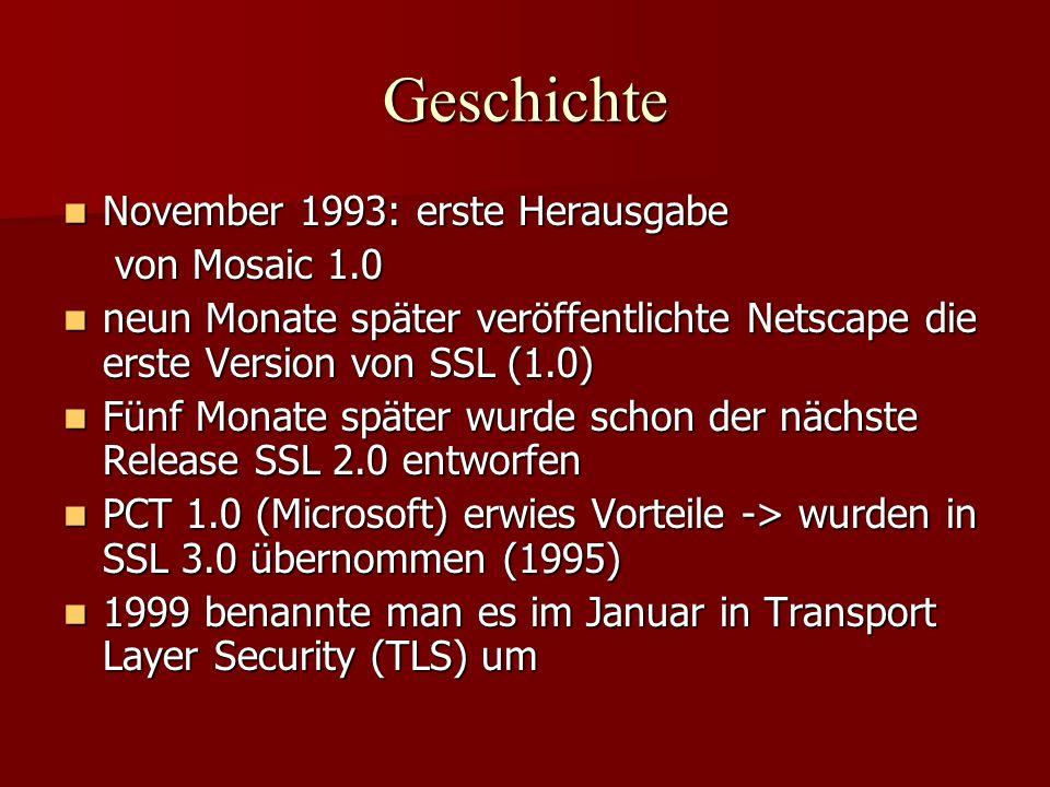 Geschichte November 1993: erste Herausgabe von Mosaic 1.0