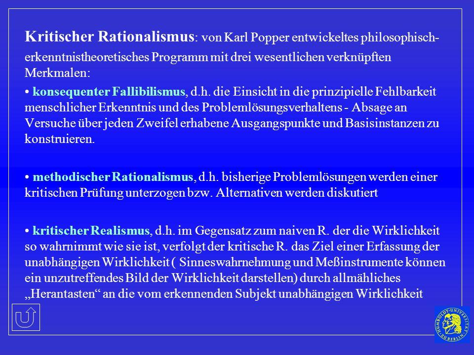 Kritischer Rationalismus: von Karl Popper entwickeltes philosophisch-
