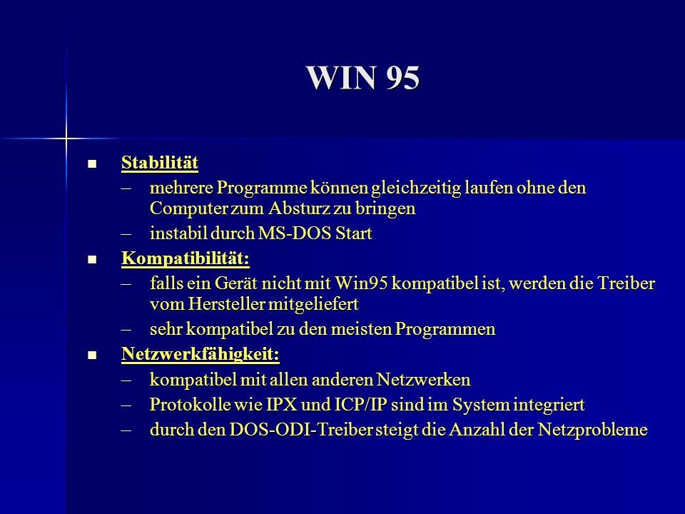 WIN 95 Stabilität. mehrere Programme können gleichzeitig laufen ohne den Computer zum Absturz zu bringen.