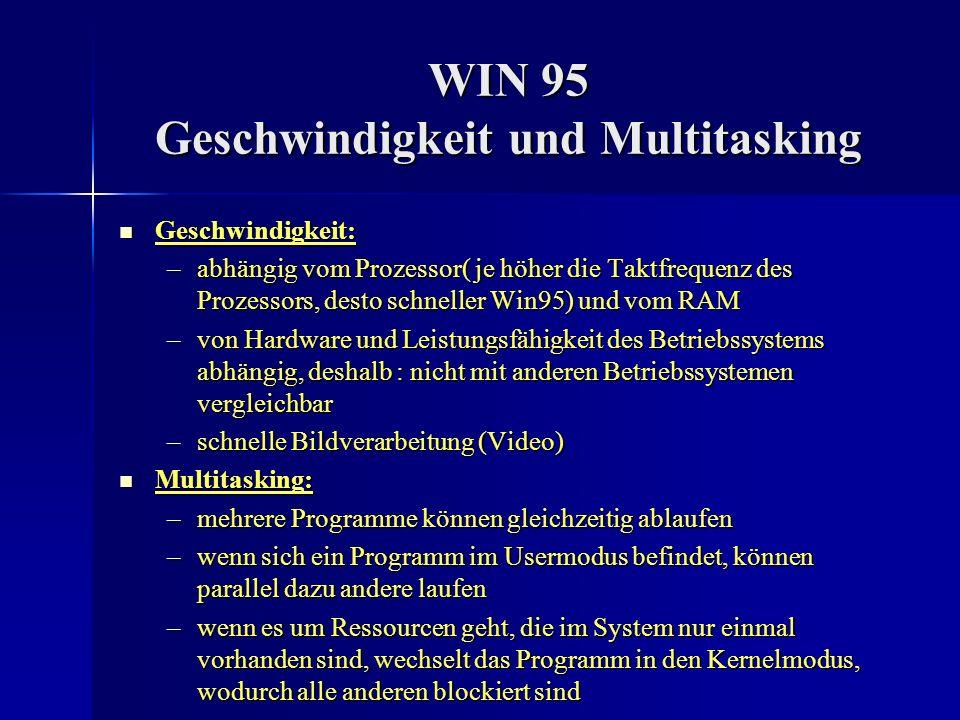 WIN 95 Geschwindigkeit und Multitasking