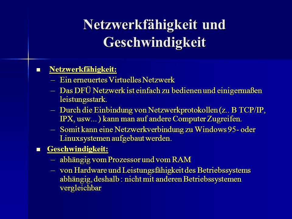 Netzwerkfähigkeit und Geschwindigkeit