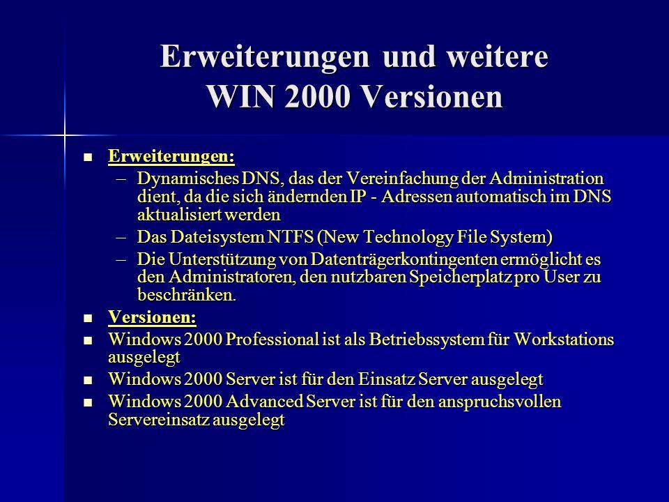 Erweiterungen und weitere WIN 2000 Versionen