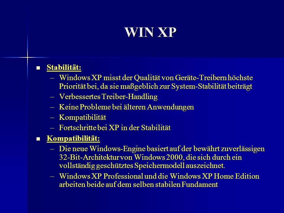 WIN XP Stabilität: Windows XP misst der Qualität von Geräte-Treibern höchste Priorität bei, da sie maßgeblich zur System-Stabilität beiträgt.