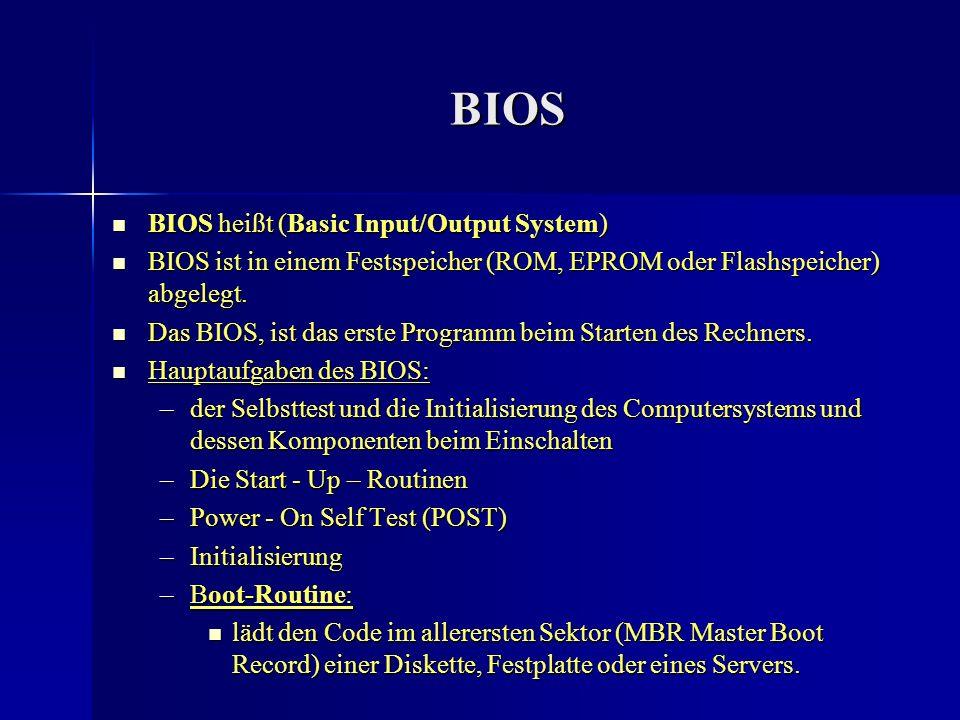 BIOS BIOS heißt (Basic Input/Output System)