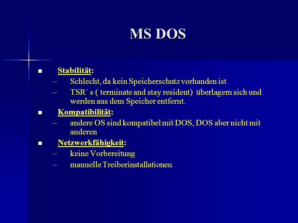 MS DOS Stabilität: Schlecht, da kein Speicherschutz vorhanden ist