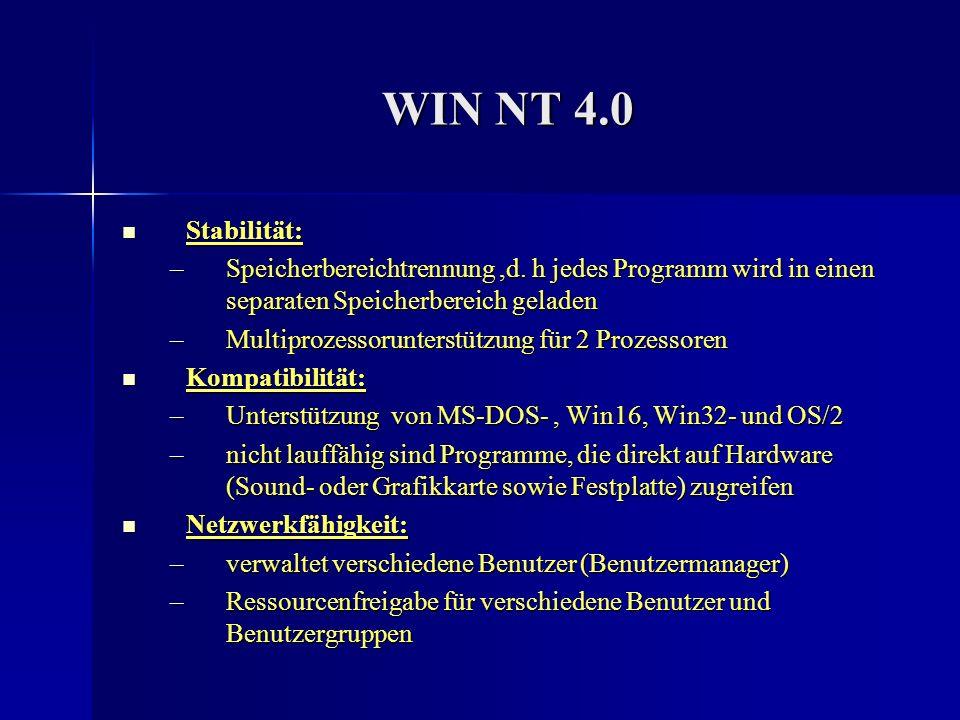 WIN NT 4.0 Stabilität: Speicherbereichtrennung ,d. h jedes Programm wird in einen separaten Speicherbereich geladen.