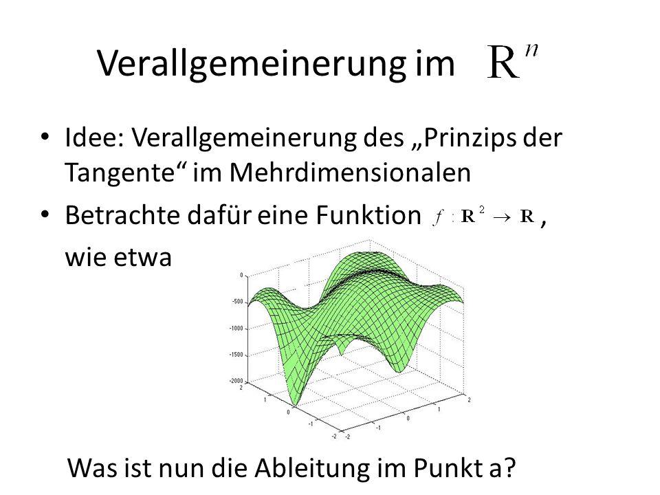 """Verallgemeinerung im Idee: Verallgemeinerung des """"Prinzips der Tangente im Mehrdimensionalen. Betrachte dafür eine Funktion ,"""