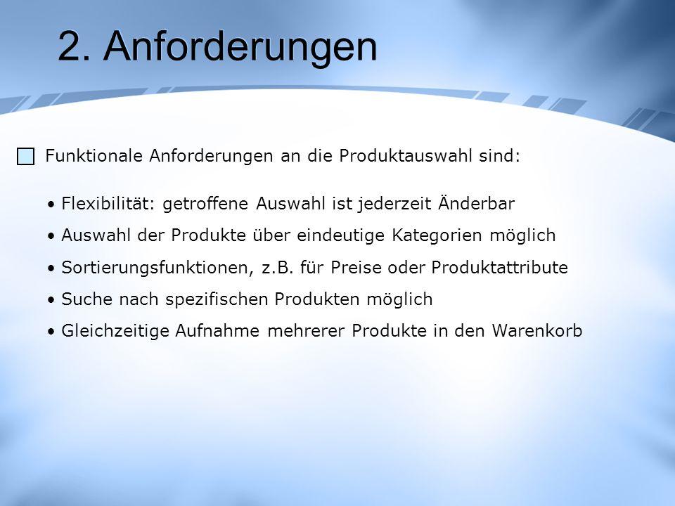 2. Anforderungen Funktionale Anforderungen an die Produktauswahl sind:
