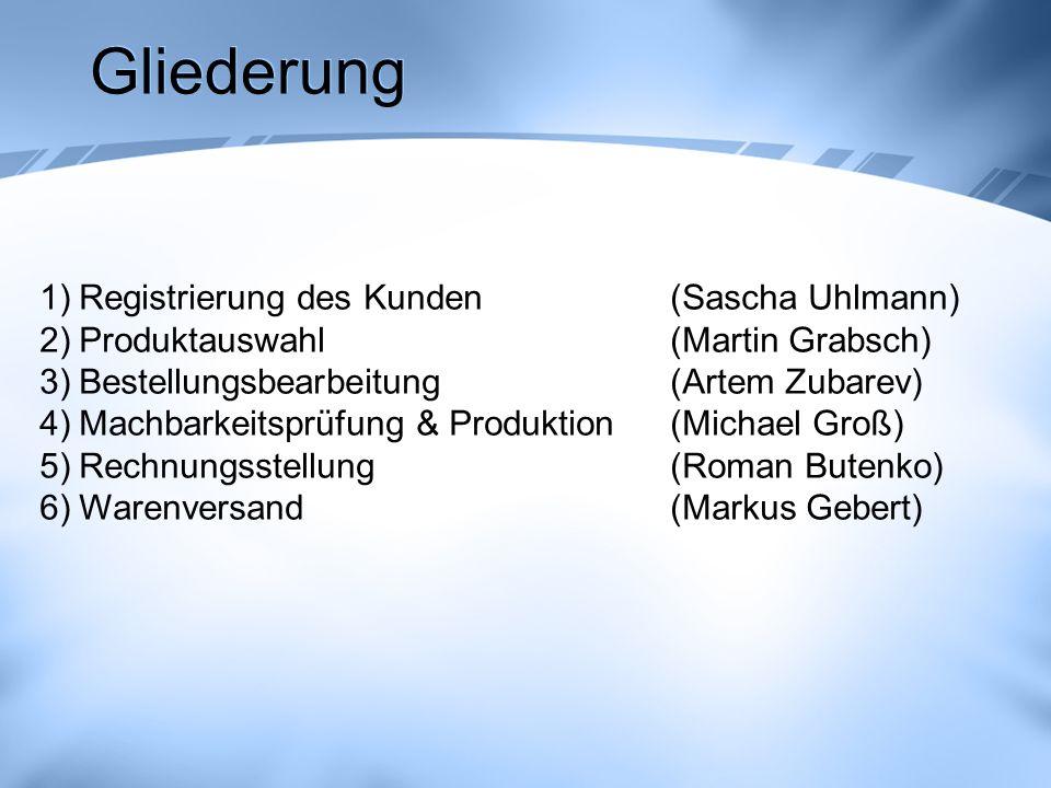 Gliederung Registrierung des Kunden (Sascha Uhlmann)