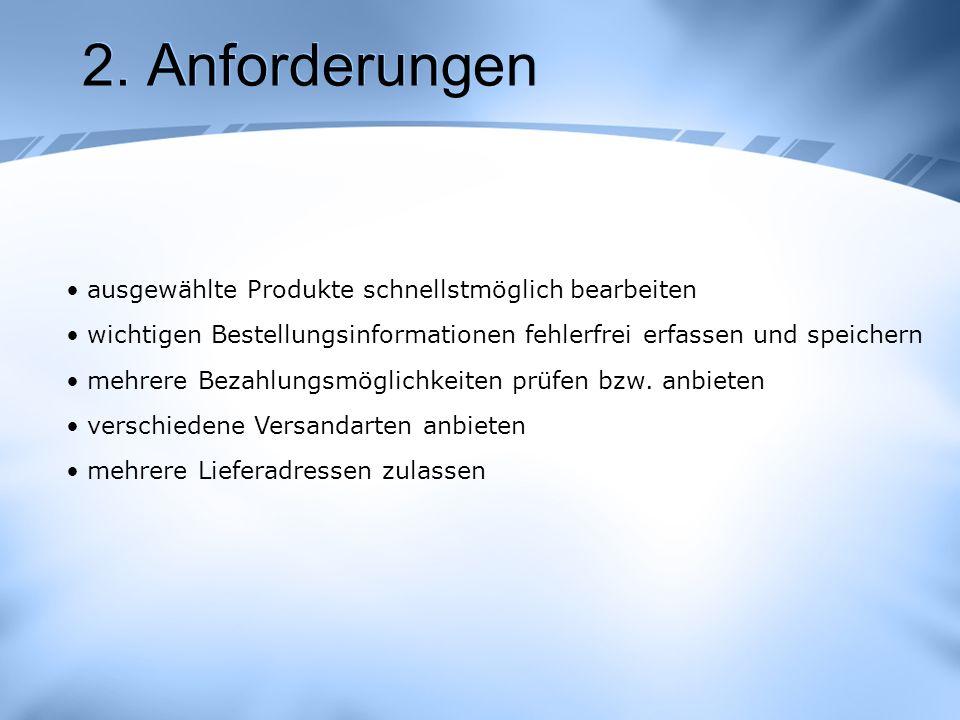 2. Anforderungen ausgewählte Produkte schnellstmöglich bearbeiten
