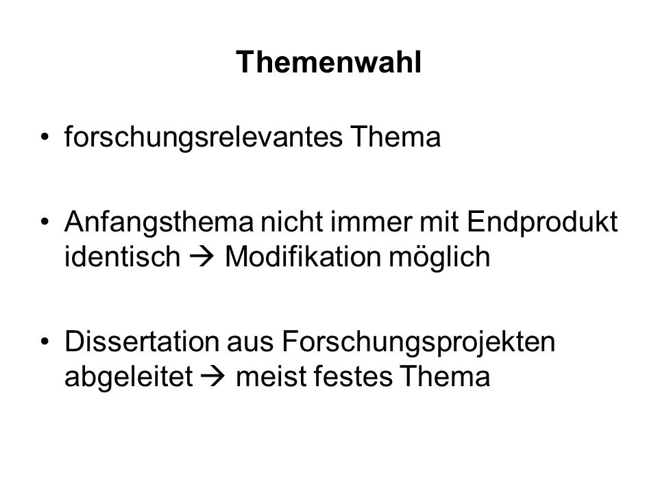 Themenwahl forschungsrelevantes Thema