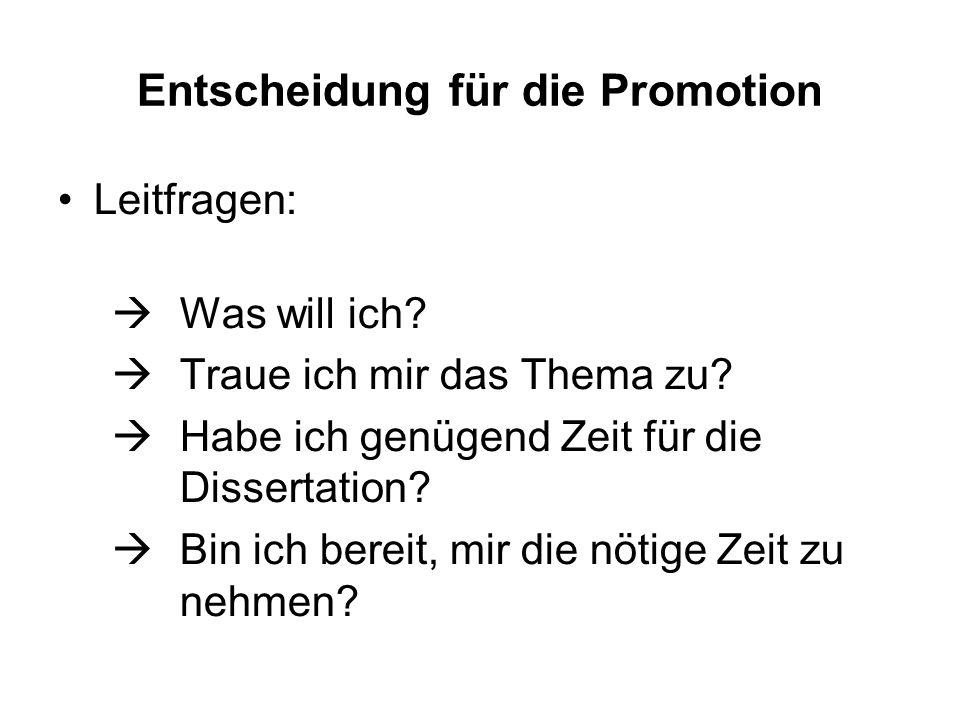 Entscheidung für die Promotion