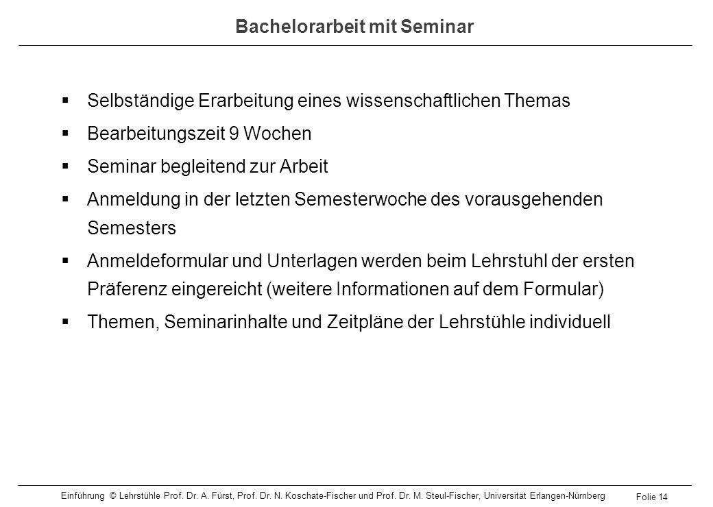 Bachelorarbeit mit Seminar