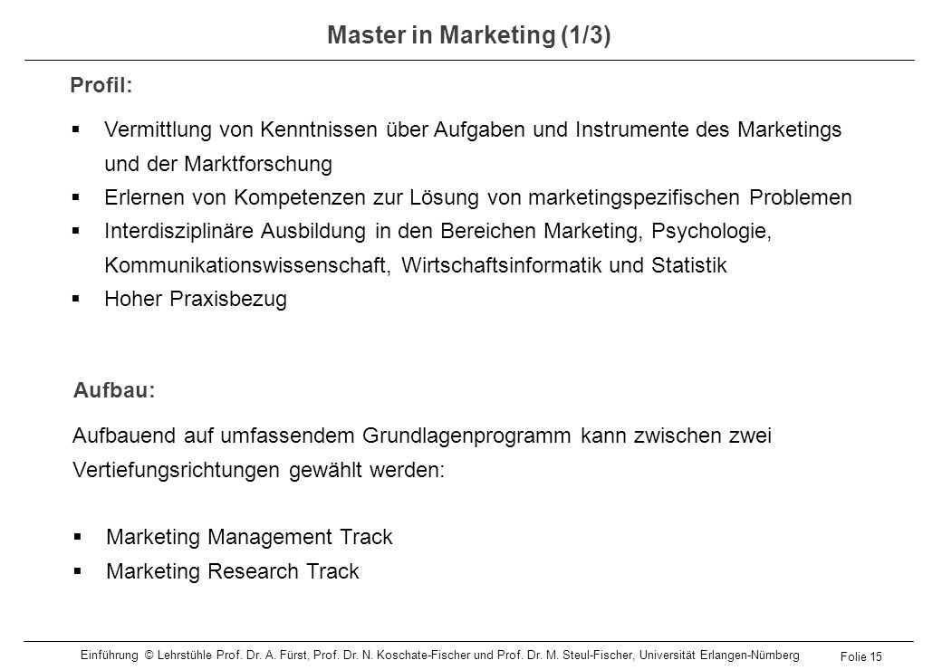 Master in Marketing (1/3)