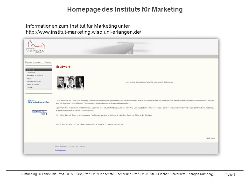 Homepage des Instituts für Marketing
