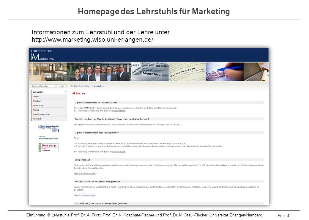 Homepage des Lehrstuhls für Marketing