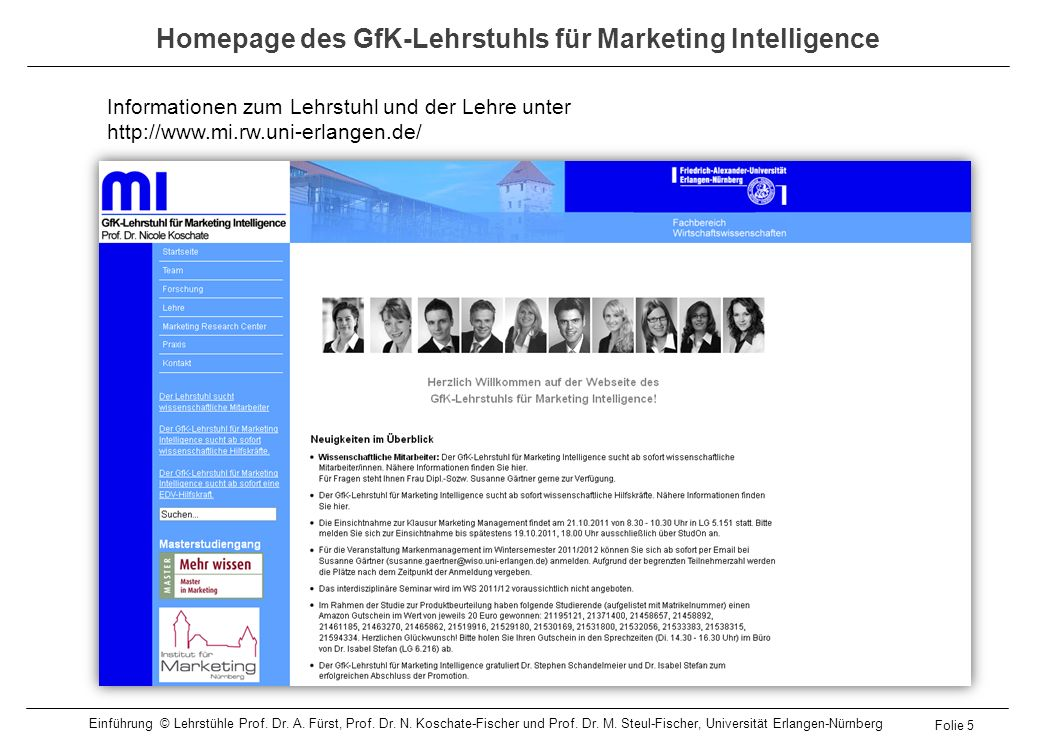 Homepage des GfK-Lehrstuhls für Marketing Intelligence