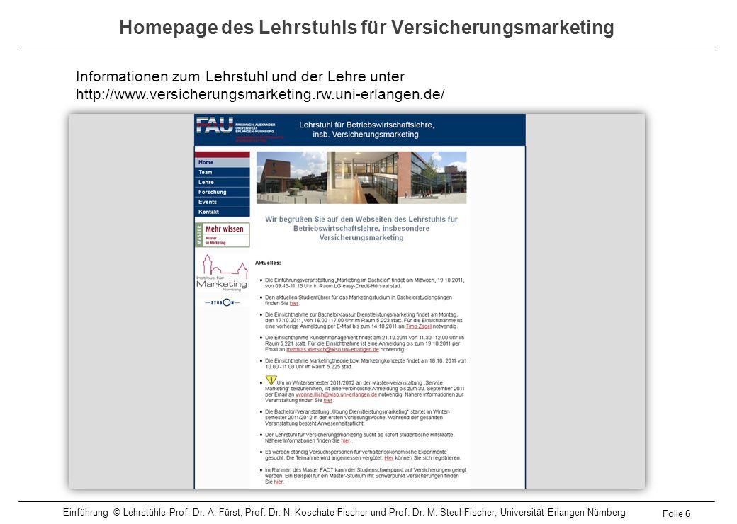 Homepage des Lehrstuhls für Versicherungsmarketing