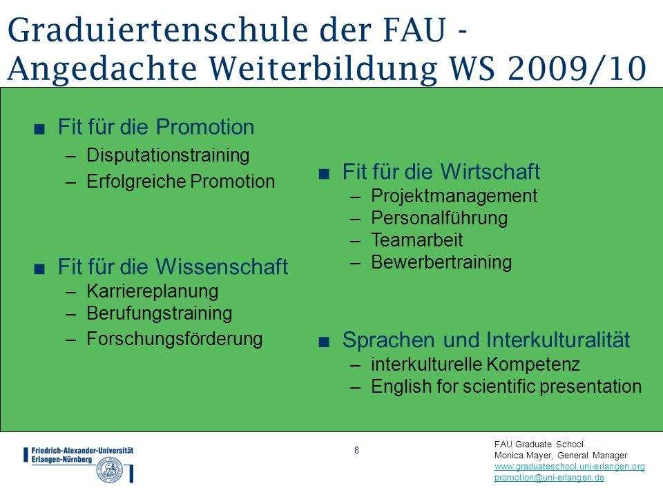 Graduiertenschule der FAU - Angedachte Weiterbildung WS 2009/10