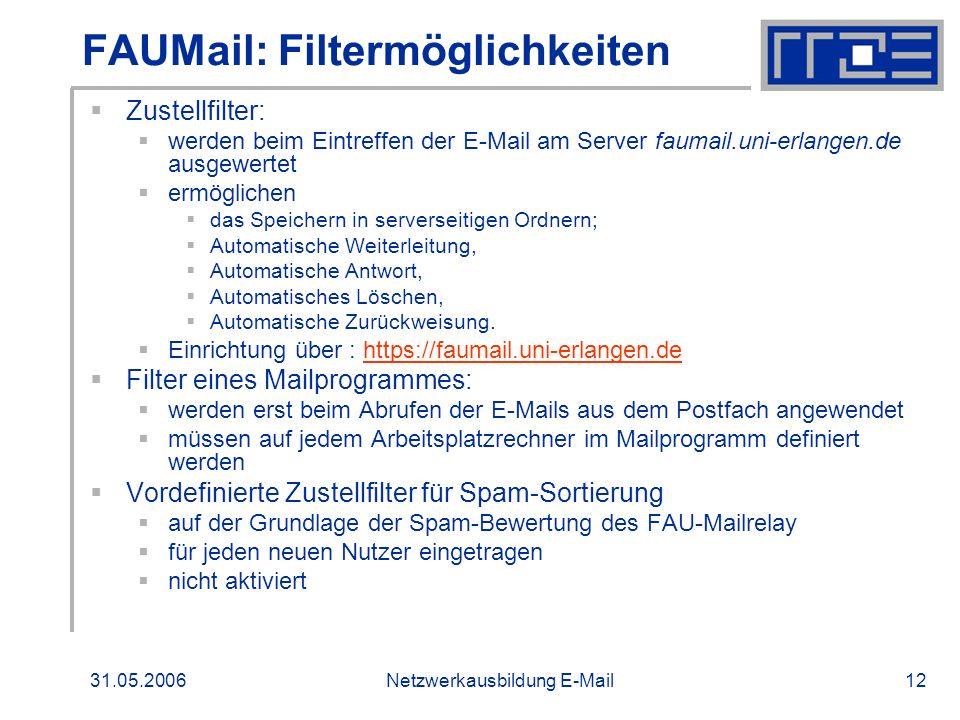 FAUMail: Filtermöglichkeiten