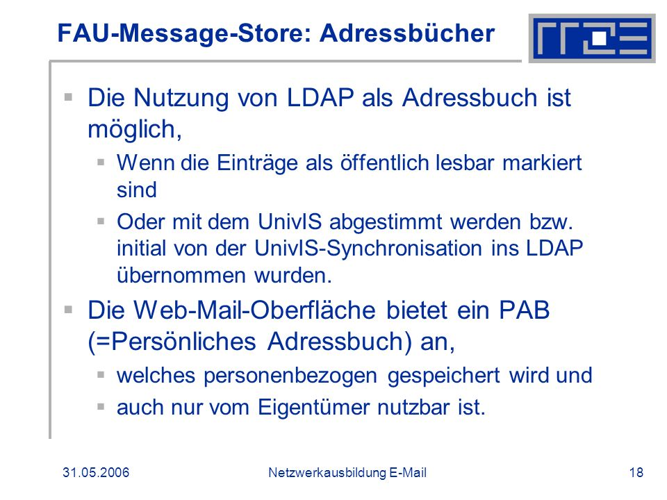 FAU-Message-Store: Adressbücher