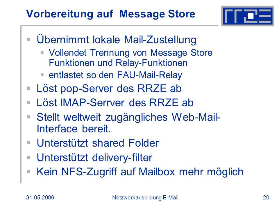 Vorbereitung auf Message Store