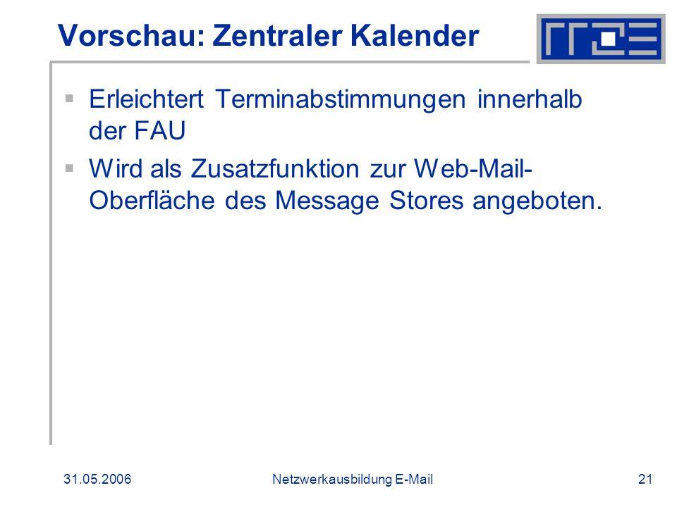 Vorschau: Zentraler Kalender