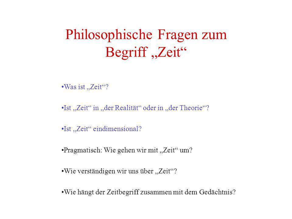 """Philosophische Fragen zum Begriff """"Zeit"""