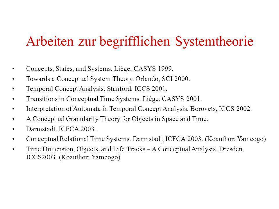 Arbeiten zur begrifflichen Systemtheorie
