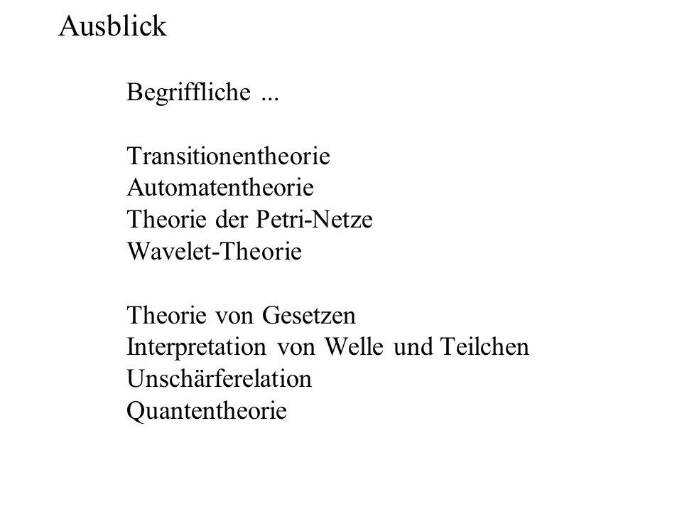 Ausblick. Begriffliche. Transitionentheorie. Automatentheorie