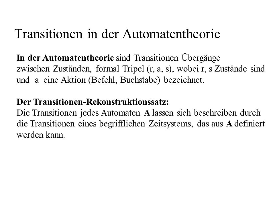 Transitionen in der Automatentheorie